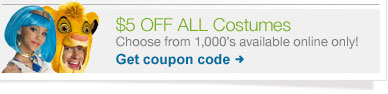 $5 OFF ALL Costumes. Choose from 1,000's available online only! Get coupon code.