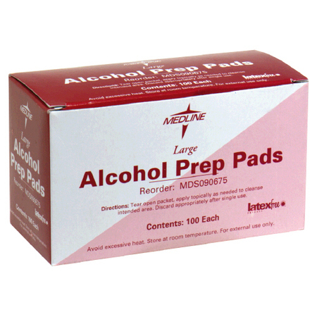Medline Alcohol Prep Pads Large, 2-Ply