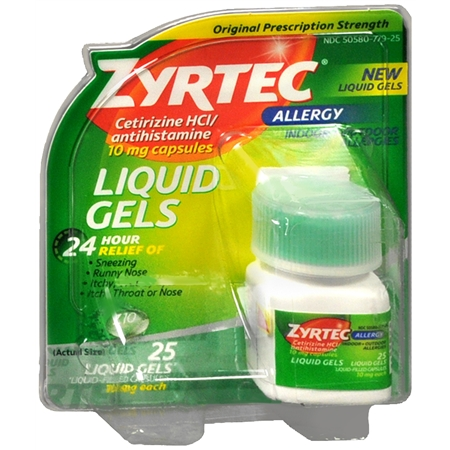 Zyrtec Antihistamine 10 mg Liquid Gels