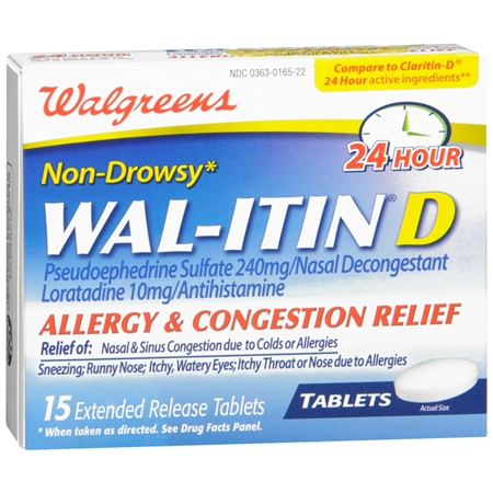 Walgreens Wal Itin D Allergy and Congestion Relief Extended Release Tabs