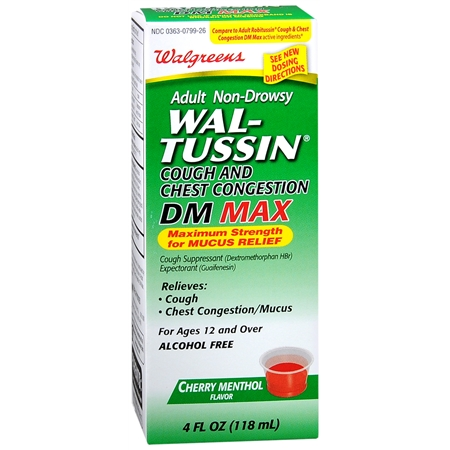 Walgreens Wal Tussin Non Drowsy Cough Congestion Cherry Menthol Liquid