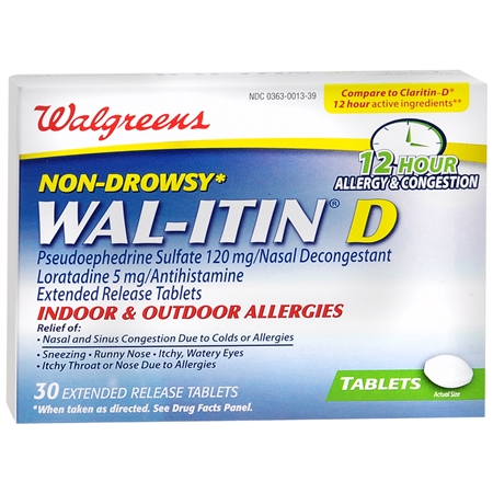 Walgreens Wal Itin D 12 Hour Allergy and Congestion Relief Tablets