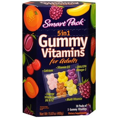 Smart Pack 5 In 1 Gummy Vitamins For Adults Dietary Supplement 30 Pack