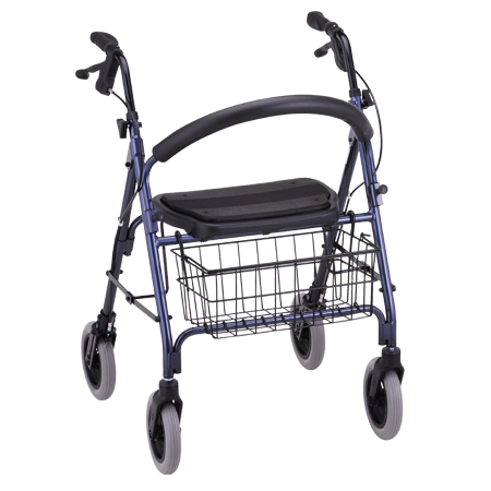 Nova Mack Heavy Duty Rolling Walker With Hand Brakes Blue