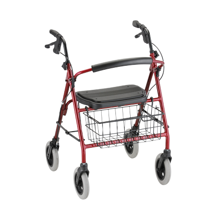 Nova Mack Heavy Duty Rolling Walker With Hand Brakes Red