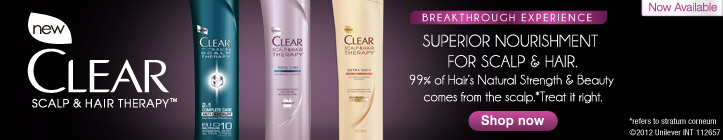 New CLEAR Scalp & Hair Therapy. Superior Nourishment for Scalp & Hair.