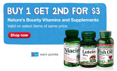 Buy 1 Get 2nd for $3. Nature's Bounty Vitamins and Supplements. Shop now.