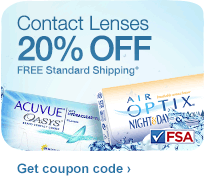 Contact Lenses 20% OFF. FREE Standard Shipping.&#176; Get coupon code.