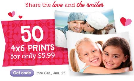Share the love and the smiles. 50 4x6 Prints for $5.99 thru Sat, Jan. 25. Get code.
