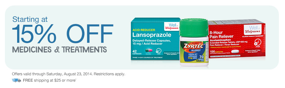 Starting at 15% OFF Medicines & Treatments.