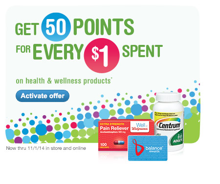 Get 50 Points for Every $1 Spent on health & wellness products.* Activate offer.