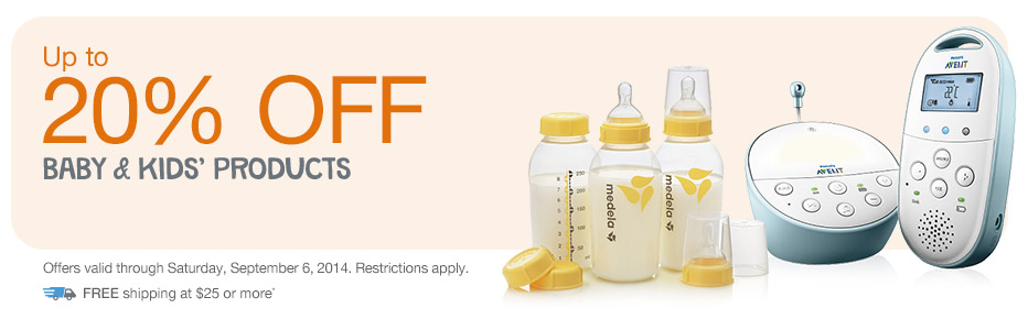 Up to 20% OFF Baby & Kids' Products. Valid thru 9/6. FREE shipping at $25*