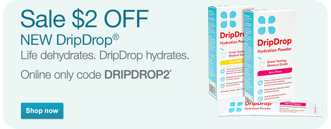 Sale $2 OFF NEW DripDrop(R). Online only code DRIPDROP2.* Shop now.