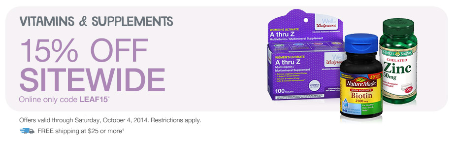 Vitamins & Supplements, 15% OFF w/code LEAF15.* Valid thru 10/4. FREE shipping at $25+.(1)