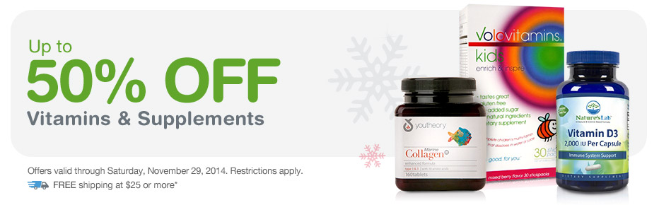 Up to 50% OFF Vitamins & Supplements. Valid thru 11/29. FREE Shipping at $25.*