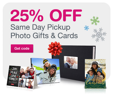 25% OFF Same Day Pickup Photo Gifts & Cards. Get code.