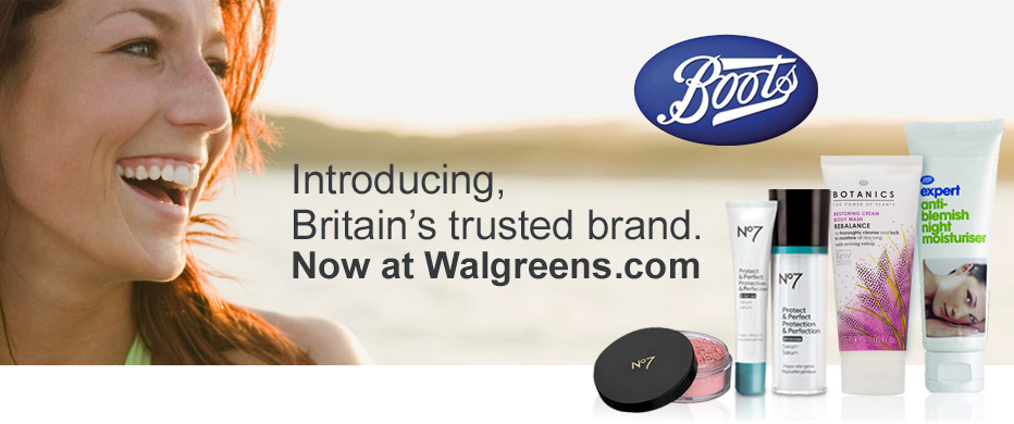 Introducing, Britain's trusted brand, Boots. Now at Walgreens.com.