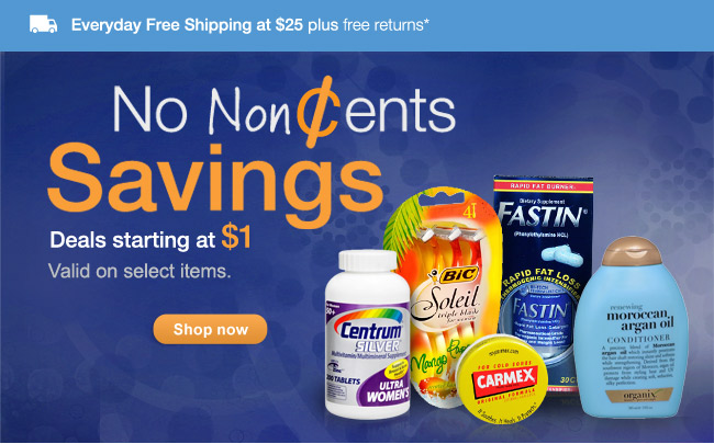 No NonCents Savings. Deals starting at $1. Valid on select items. Shop now
