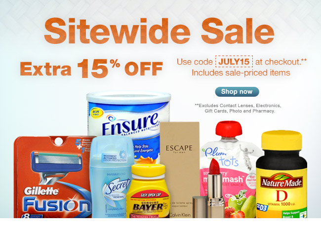 Sitewide Sale Extra 15% OFF. Use code JULY15 at checkout.** Includes sale-priced items. **Excludes Contact Lenses, Electronics, Gift Cards, Photo and Pharmacy. Shop now