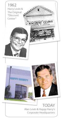 1962 - Harry Levin and the original Discount Center. Today - Alan Levin and Happy Harry's corporate headquarters.