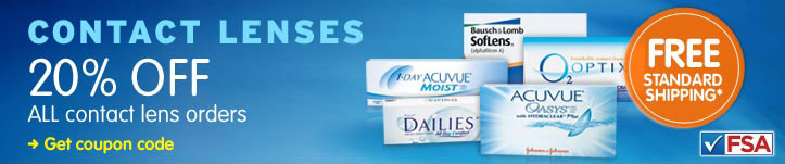 20% OFF ALL contact lens orders. FREE SHIPPING*. FSA APPROVED. Get coupon code.