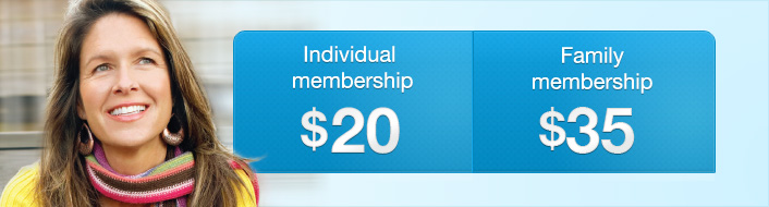 Individual membership $20. Family membership $35.